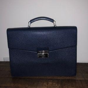 Prada Navy Blue Saffiano Leather Briefcase